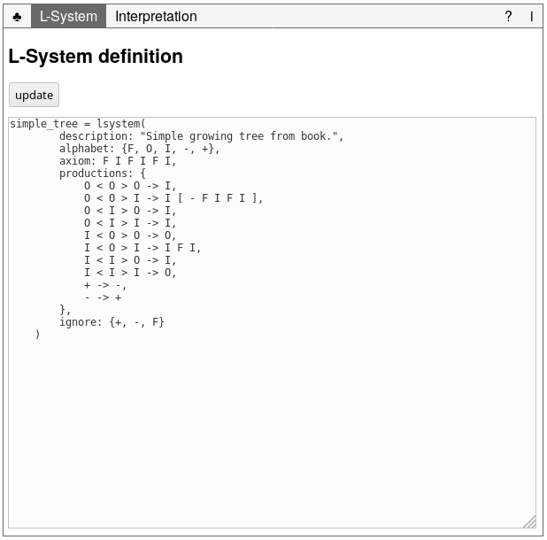 Figure 3.2 The L-system tab to view and change the L-system's definition